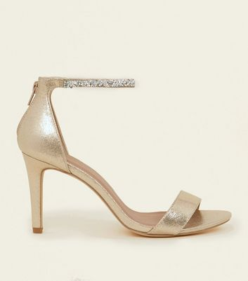 Wide Fit Gold Crystal Strap Wedding Sandals