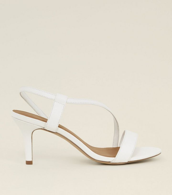 affordable price order best service Wide Fit White Asymmetric Strap Mid Heel Sandals Add to Saved Items Remove  from Saved Items