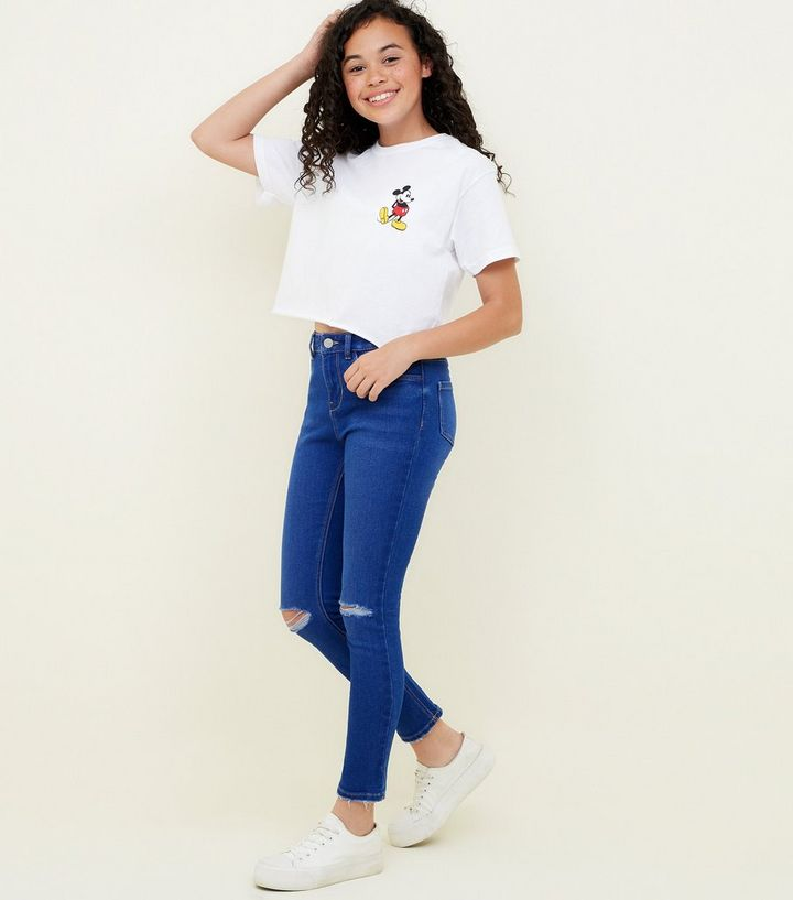 8824dc4f3a Girls Bright Blue Ripped Skinny Jeans