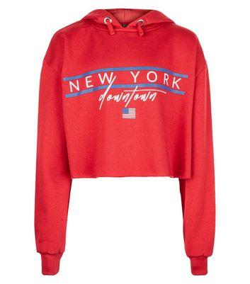 Teens New York Print Raw Hem Hoodie New Look