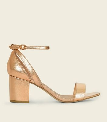 Wide Fit Rose Gold Cut Out Mid Heel Sandals