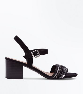 Wide Fit Black Suedette Woven Sequin Strap Sandals