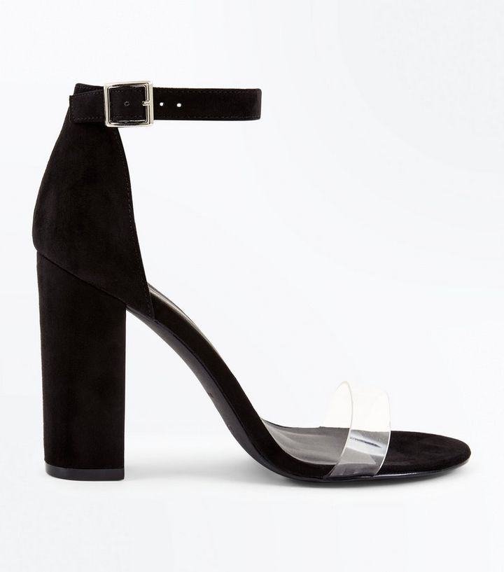 542d84ed41d Wide Fit Black Suedette Clear Strap Heels