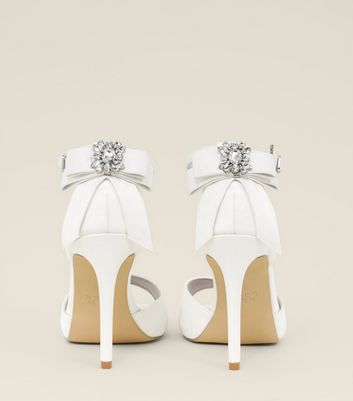 Wide Fit White Satin Bow Back Peep Toe