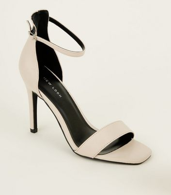 Nude Leather-Look Square Toe Stiletto Sandals