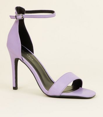 Lilac Leather-Look Square Toe Stiletto Sandals