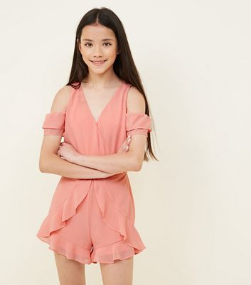 Girls Coral Frill Hem Playsuit