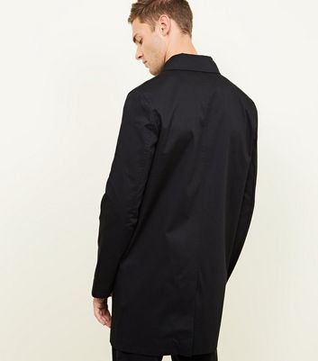 shop for Men's Black Longline Single Breasted Mac New Look at Shopo