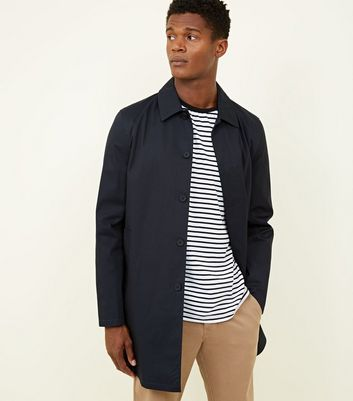 Navy Longline Single Breasted Mac