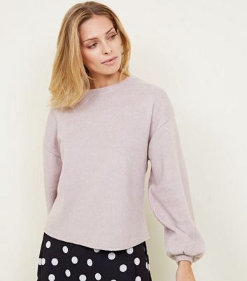 Pale Pink Fine Knit Balloon Sleeve Jumper