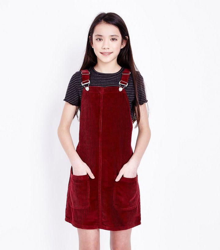 2fb252d8b49e Teens Burgundy Corduroy Pinafore Dress | New Look