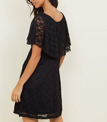 Mela Black Lace Wrap Front Dress New Look