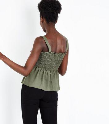 Khaki Shirred Peplum Hem Cami New Look