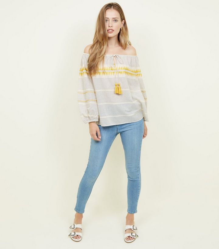 514177ecf9 Home · Womens Sale · White Stripe Embroidered Tassel Tie Bardot Top. ×. ×.  ×. Shop the look