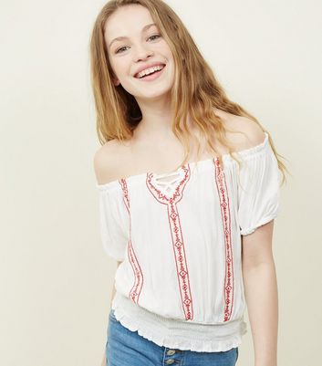 Girls White Folk Embroidered Top