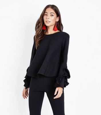 Mela Black Frill Sleeve Top