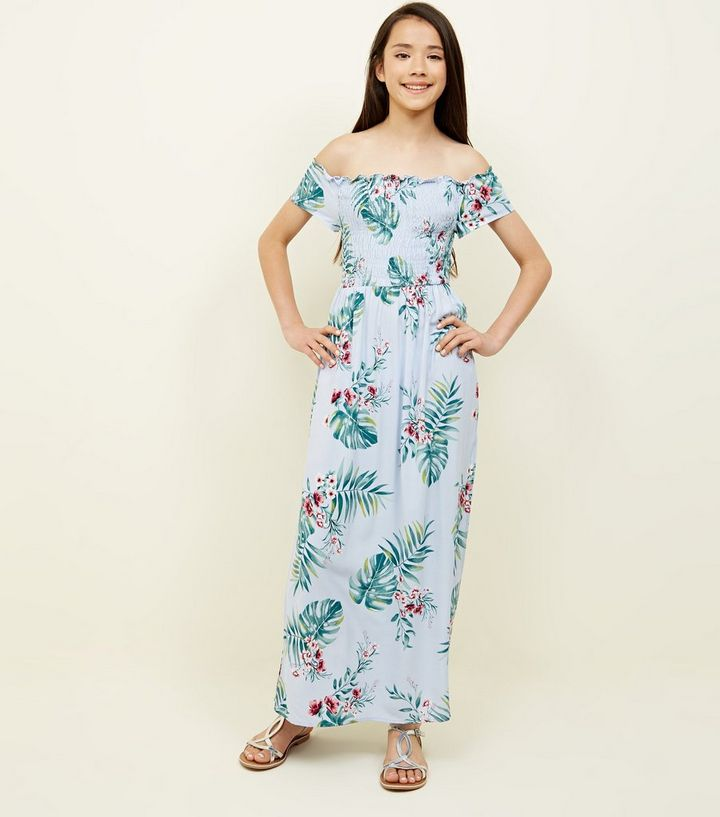 a5898ea190c Girls Blue Tropical Shirred Maxi Dress Add to Saved Items Remove from Saved  Items