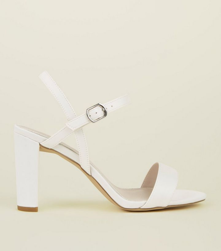 reasonable price classic styles new varieties Wide Fit Off White Satin Block Heel Sandals Add to Saved Items Remove from  Saved Items