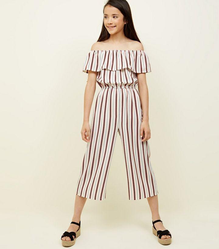 5f408b3d2bf Teens Pink Stripe Frill Bardot Jumpsuit