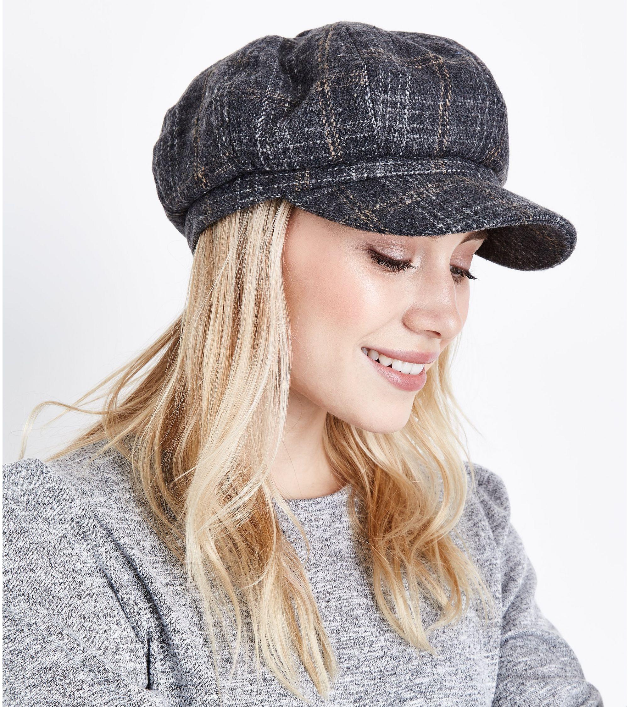 72d5aaedac86f New Look Grey Check Baker Boy Hat at £9.99