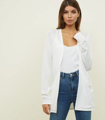 Tall Off White Textured Longline Cardigan