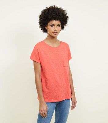 Tall Coral Organic Cotton Pocket Front T-Shirt