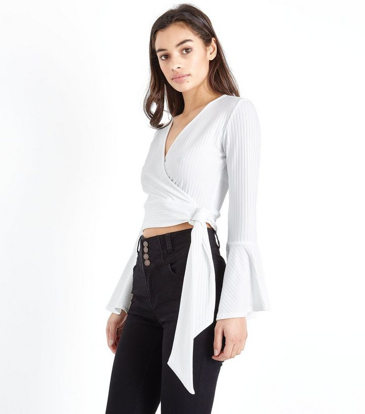 9b20eed6fdaae Petite Off White Wrap Front Ribbed Crop Top