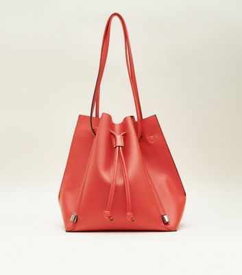 Red Slouch Drawstring Shopper Tote Bag