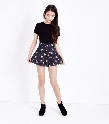 Teens Black Ditsy Floral Print Skort New Look