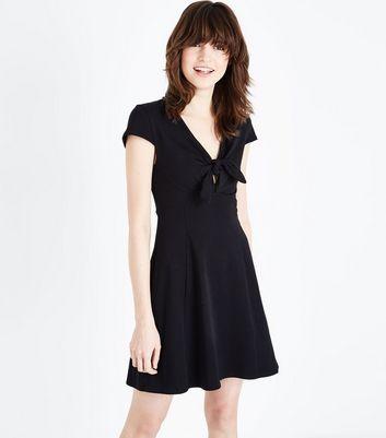 Black Tie Front Jersey Skater Dress New Look