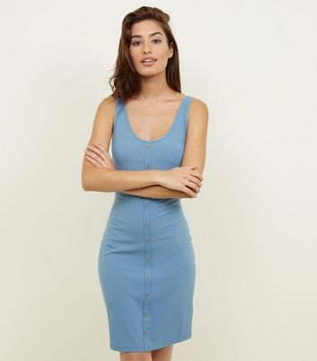Blue Ribbed Button Front Bodycon Dress