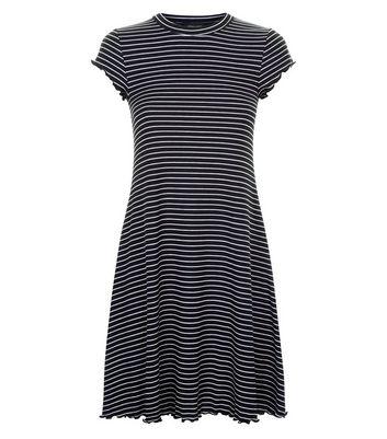 Black Stripe Frill Hem Swing Dress New Look