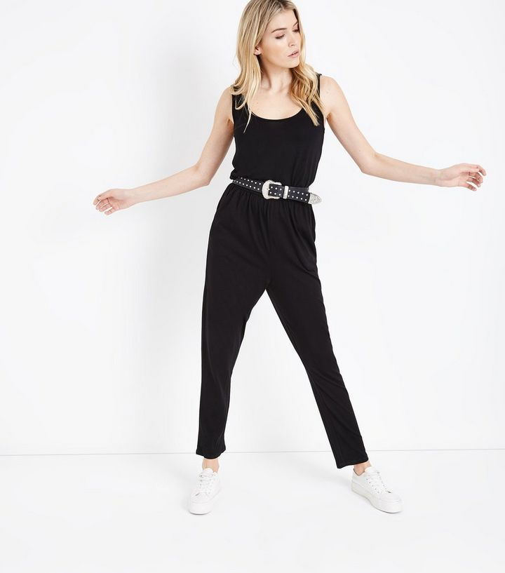df369192186 Black Jersey Sleeveless Jumpsuit
