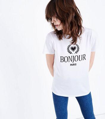 Slogan Paris White Front Look Bonjour ShirtNew T 8nwvPyNO0m