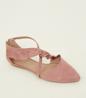 Wide Fit Pink Cut Out Ruffle Strap Pointed Pumps New Look