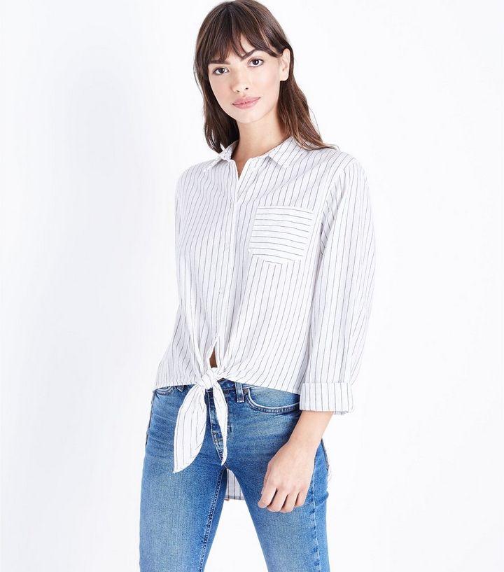 2cfc215f21 Monochrome Stripe Tie Front Stripe Shirt   New Look