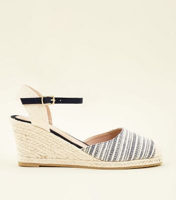 4d1501b5f62 Navy canvas woven stripe espadrille wedges new look jpg 720x817 Navy canvas  wedges