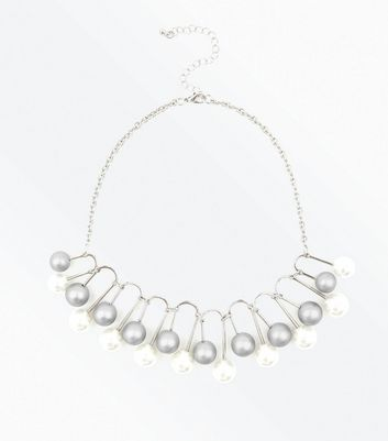 Silver Abstract Faux Pearl Necklace