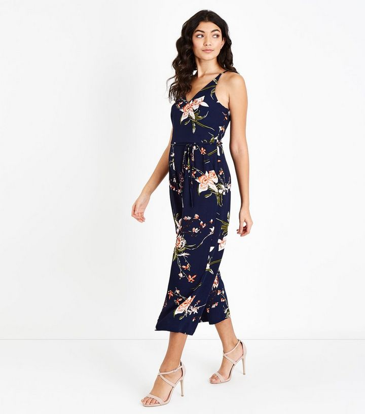 135a4573c57 AX Paris Blue Floral Belted Culotte Jumpsuit Add to Saved Items Remove from  Saved Items