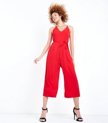 AX Paris Red V Neck Culotte Jumpsuit