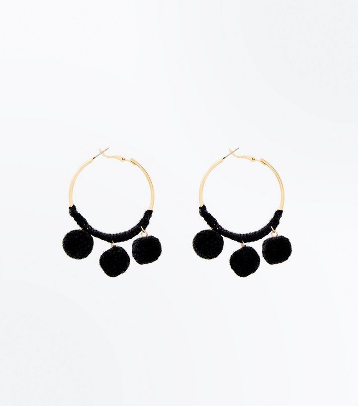 Black Pom Hoop Earrings Add To Saved Items Remove From