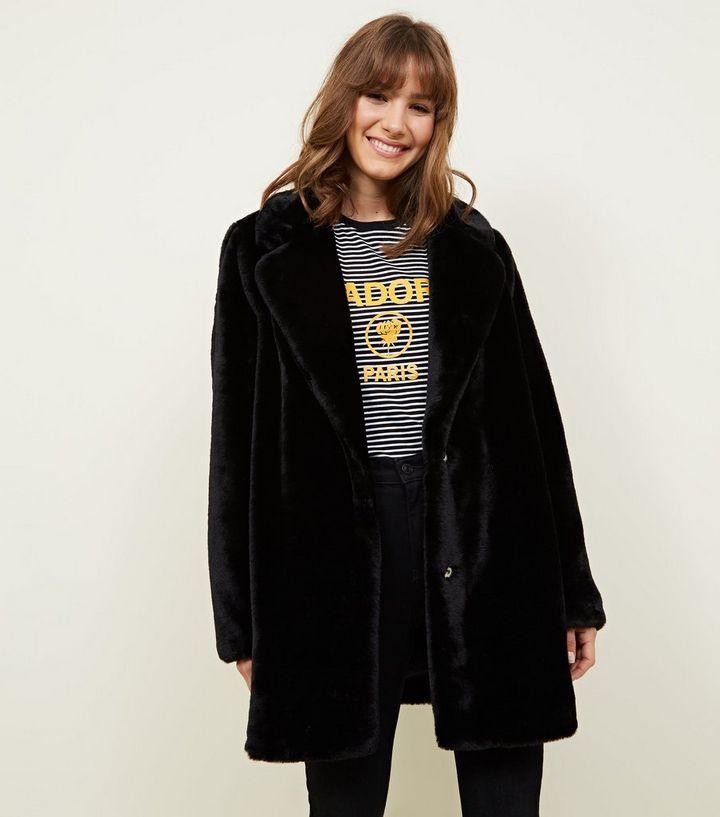9fca3600 Black Faux Fur Longline Coat | New Look