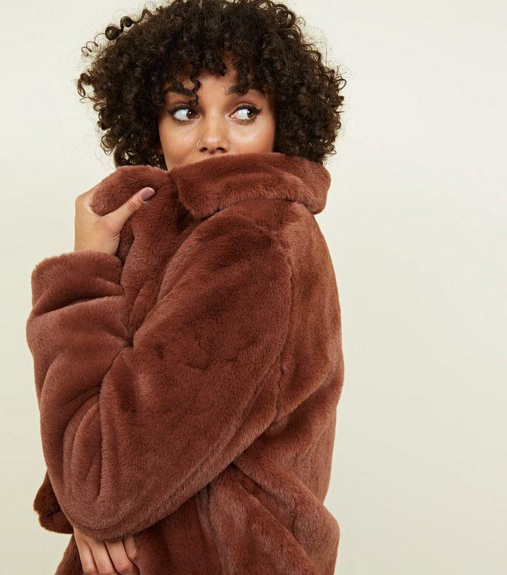 Rust Faux Fur Longline Coat New Look, New Look White Faux Fur Longline Coat