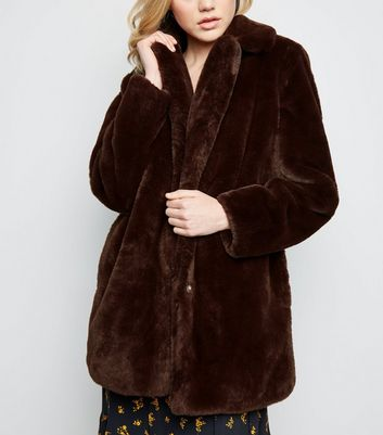 Dark Brown Faux Fur Longline Coat