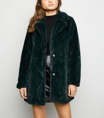 Dark Green Faux Fur Longline Coat