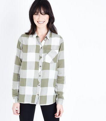 JDY Green Check Pocket Front Shirt New Look