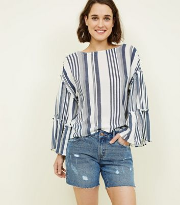 Blue Vanilla White Stripe Tiered Sleeve Top