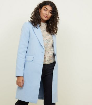 Pale Blue Single Breasted Formal Coat