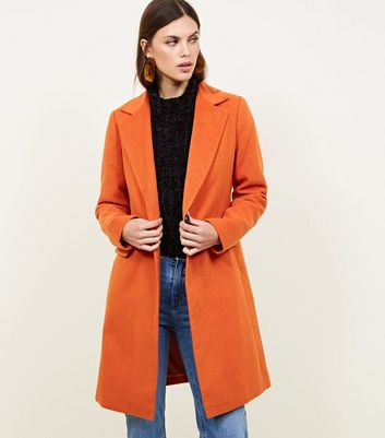 Bright Orange Single Breasted Formal Coat