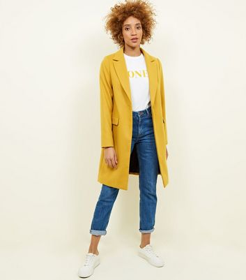 Mustard Single Breasted Formal Coat